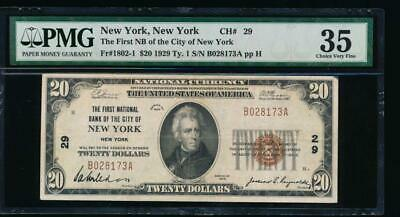AC 1929 $20 First National Bank of the City of New York, NY PMG 35 Ch #29