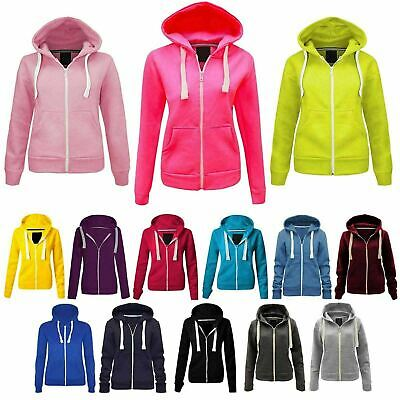 Zip Up Boys Girls Kids Plain Colour Fleece Hoodie Sweatshirt Hooded Jackets