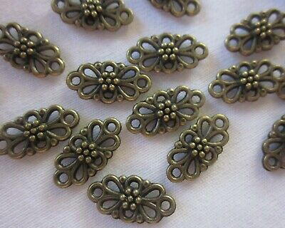 20 Antique Bronze Coloured Floral Connectors 15mmx7mm Double Sided #254 Findings