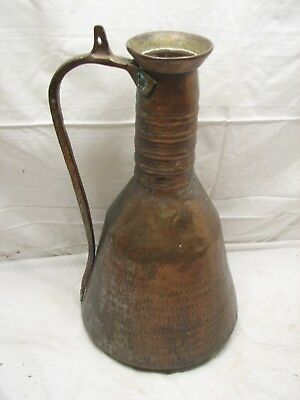 Vintage Hammered Copper Ewer Large Hand Wrought Pitcher Handled Vessel Jug
