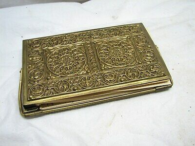 Vintage Ornate Brass Bridge Score Pad Holder Playing Cards Pinochle Address Book