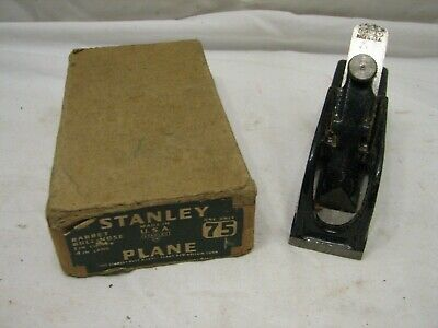 Vintage Iron Stanley No. 75 Bull Nose Rabbet Plane Woodworking Tool w/orig Box