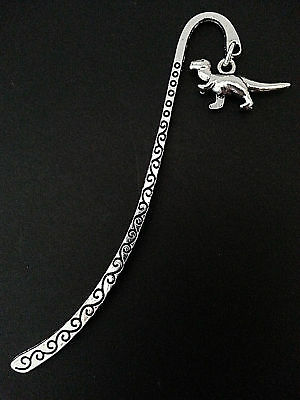 New Antique Silver Metal Bookmark with Tyrannosaurus T-Rex Dinosaur Charm Gift