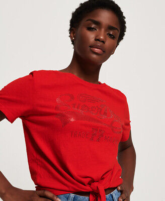 New Womens Superdry Deluxe 77 Knot Front T-Shirt Royalty Red Rugged