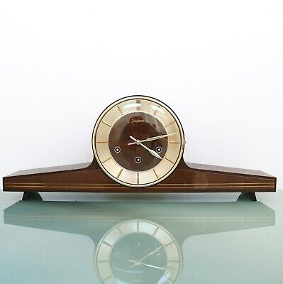 JUNGHANS GERMAN Mantel Clock HIGH GLOSS! WESTMINSTER Chime! Mid Century Vintage