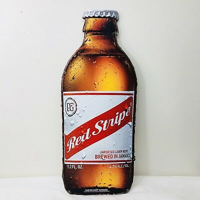 "Red Stripe Beer Bottle Tin Sign 24"" x 9"" Jamaica Tiki Bar Pub Man Cave NEW"