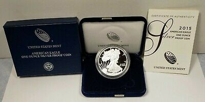 2015 United States American Eagle 1 Oz Silver Coin Proof With Case, Box and COA