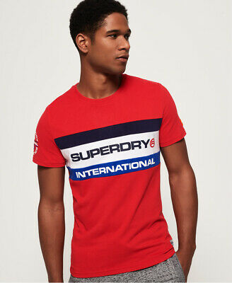 New Mens Superdry Trophy Tri Colour T-Shirt Stadium Red