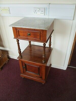 Marble Top French Bedside Cabinet Pot Cupboard