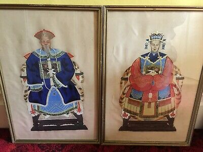 Antique Chinese Paintings on Silk, 1900s