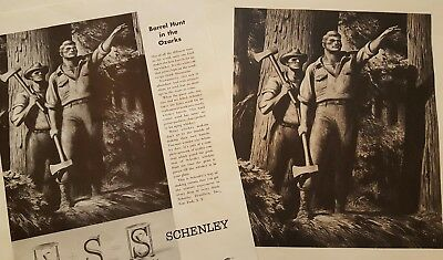 Schenley Whiskey Advertising Prints Unframed  Distillery Employee Portfolio Lot