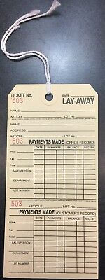 LOT 50 LAYAWAY TAGS Merchandise Price Tags  3x6  strung lay away retail sale tag