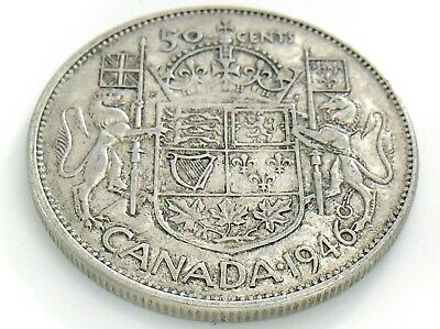 1946 Wide Date Canada 50 Fifty Cent Half Dollar Circulated George VI Coin J195