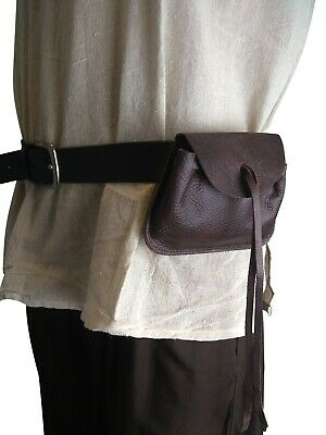 LARP Medieval Leather Money Pouch Drawstring Black and Brown Reenactment