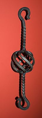 """Basket S-Hook Hanger, Wrought Iron 13"""" Chain Link, made by USA Blacksmiths"""