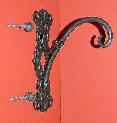 Shepards Hook Scroll Wall Hanger, Elegant Wrought Iron with Ball Screws
