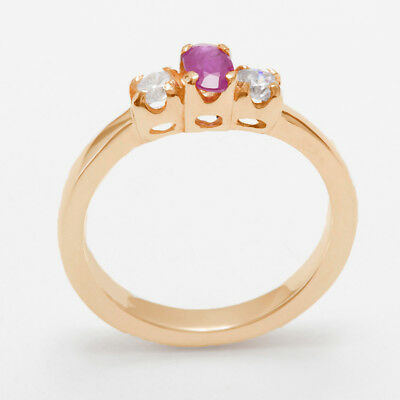 14ct Rose Gold Natural Ruby & Cubic Zirconia Womens Trilogy Ring - Sizes J to Z