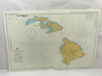 Admiralty Chart Nautical Map North Pacific Ocean Hawaii to Oahu 1309 1998