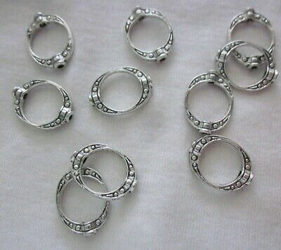 20 Antique Silver Coloured 15mmx10mm Bead Frames 3780 Jewellery Making Findings
