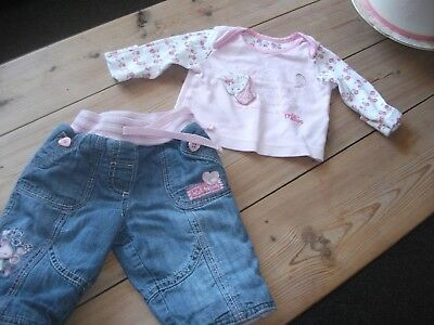 Baby Girls Jeans  & Rosebud  Top Outfit  Age 0-3 Months