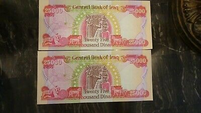 $50,000 IQD Authentic Iraqi Dinar Notes (2) $25,000 Uncirculated