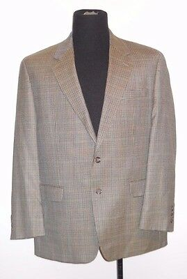 RALPH LAUREN Houndstooth Suit Jacket Blazer 44R 44 Regular Silk Wool Brown Check