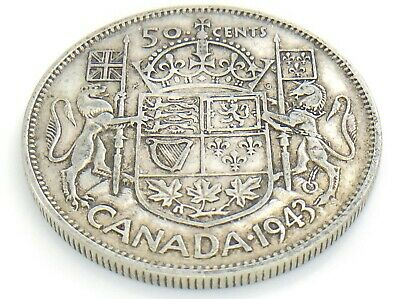 1943 Canada 50 Fifty Cent Half Dollar Circulated George VI Canadian Coin J202