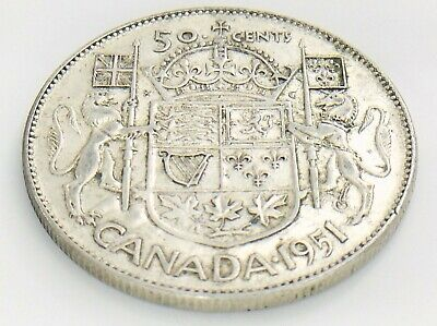 1951 Canada 50 Fifty Cent Half Dollar Circulated George VI Canadian Coin J204