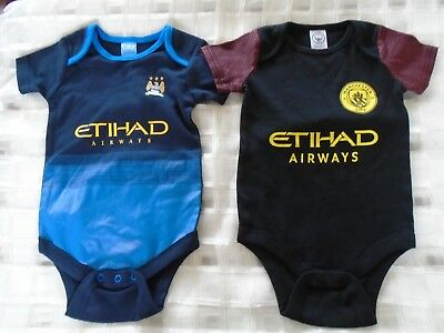 Manchester City baby football vests x 2 age 12-18 months