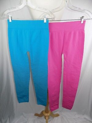 Girls Children's Leggings Full Length Pants Kids Sz 10 Pink & Aqua 26 x 28