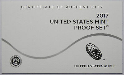 2017-S Clad Proof Set New US Mint Product COA ONLY, NO COINS