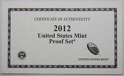 2012-S Clad Proof Set New US Mint Product COA ONLY, NO COINS