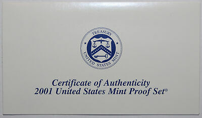 2001-S Clad Proof Set New US Mint Product COA ONLY, NO COINS