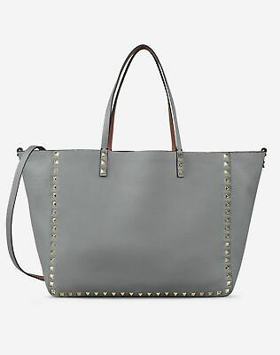 17c0efab3 New VALENTINO Rockstud Gray & Red Reversible Leather Tote Shoulder Bag Purse