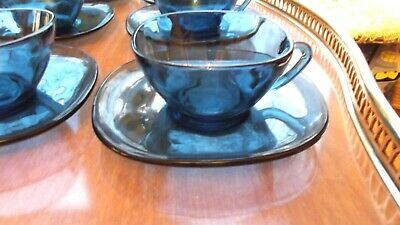 Vintage/Retro Set of 6  Arcoroc French Matching Blue Cups and Saucers-G C