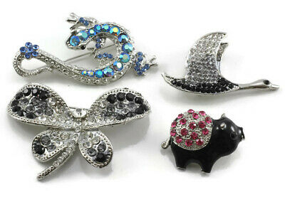 Wholesale Lot of 4 Pieces of Fancy Austrian Crystal Brooch Pin
