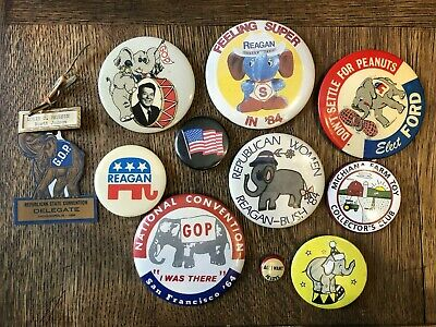 11 Vintage Republican Pins/ Buttons - Reagan/ Ford/ Bush
