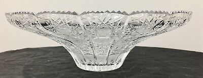 """Large Crystal Centerpiece Bowl Sawtooth Queen Lace Star Pattern 12"""""""
