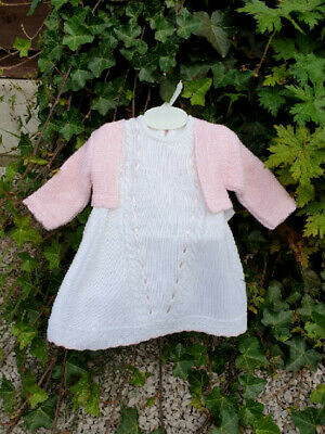 Dream Spanish  Knitted Dress & Cardigan Set  3-18 Months Or Reborn Dolls