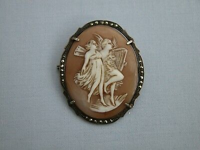 Stunning Large Antique Solid Sterling Silver + Marcasite Classical Cameo Brooch