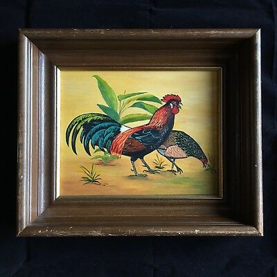 Vintage Painting Rooster & Hen Oil on Board Artist Farm Birds Framed Wall Art