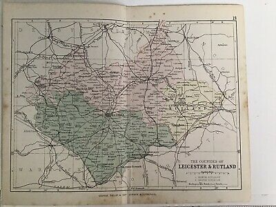 Leicester & Rutland England 1880 Original Antique Railway Map Bartholomew Philip