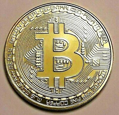 Bitcoin 2018 Gold Plated Physical Collectable Coin Virtual Currency