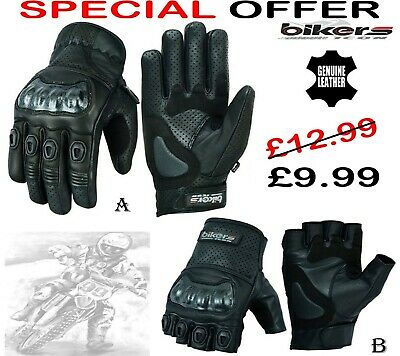 Mens Short Perforated Hard Knuckle Motorbike Motorcycle Motocross Leather Gloves