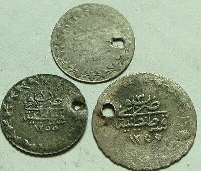 Lot 3 genuine Islamic billon coins/ Ottoman Empire Abdul AZIZ I Turkey Istambul