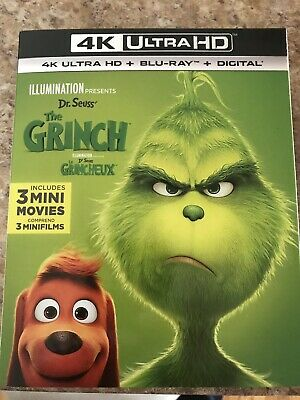 Dr Seuss The Grinch 4K + Blu Ray + Digital New And Sealed With Slip Cover