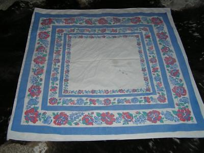 "1940's Print Red and Blue Floral Cotton Linen Tablecloth square 45"" x 46"""