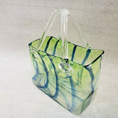Large Hand Blown Glass Purse Green Translucent and Blue Striped Clear Handles