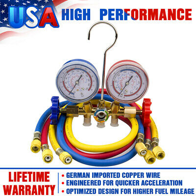 R134A R12 R22 Manifold Gauge Set HVAC A/C Refrigeration Test Charging With Hoses