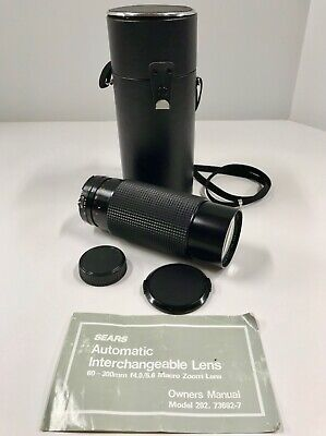 Sears 60-300MM F4-5.6 Macro Wide Angle Telephoto Zoom Lens w/ Case ~ EXC